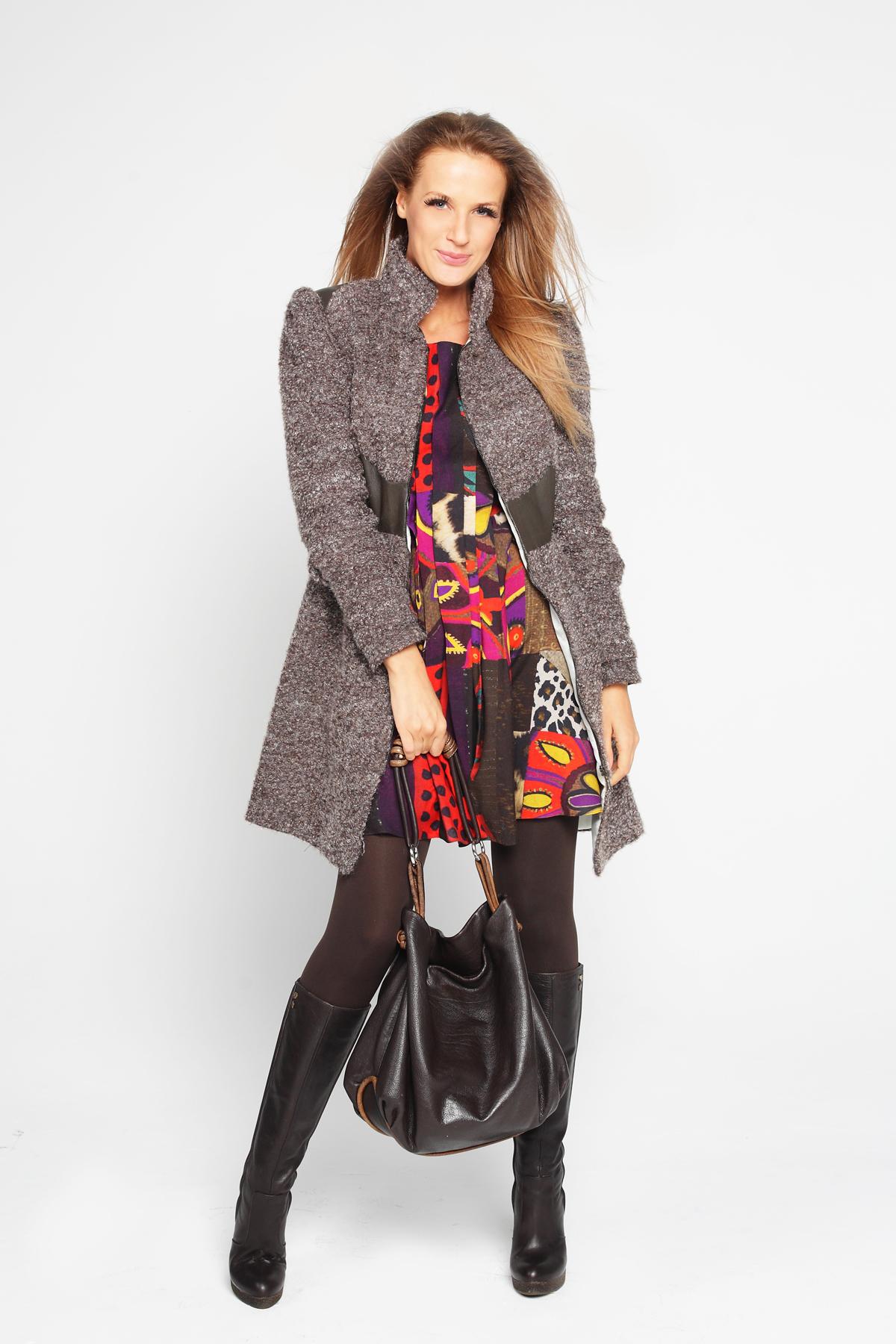Осенние цвета комплект платье пальто