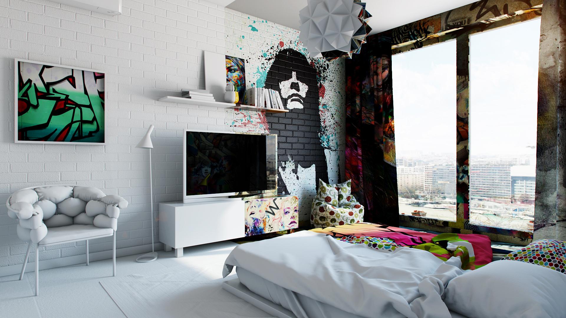 Необычный дизайн в комнате